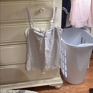 American Eagle Medium Off-White Cami w/ Cream lace